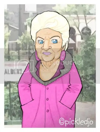 Pat Butcher cartoon, Pat Evans, Caricature, Pickedjo