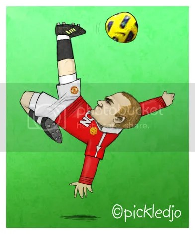 Wayne Rooney Overhead kick derby Manchester United cartoon