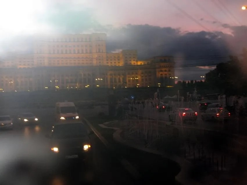 The Palace of the Parliament at dusk