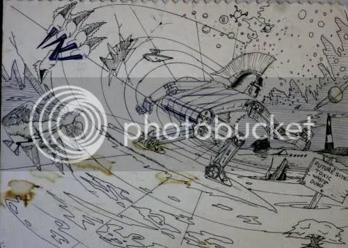 surreal notebook doodle