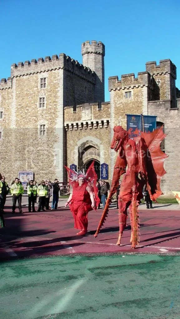 Red Dragons outside Cardiff Castle in the St Davids David Day Parade Cardiff 2010