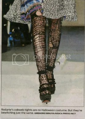 Cobweb tights on the runway
