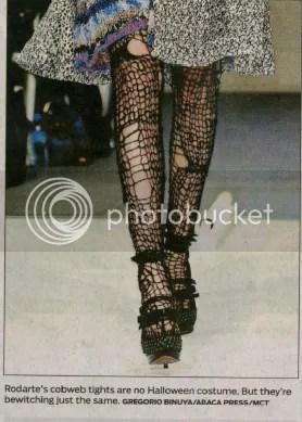 Cobweb tights on the runway