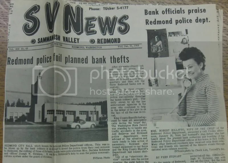 Sammamish Valley News front page, January 31st, 1968