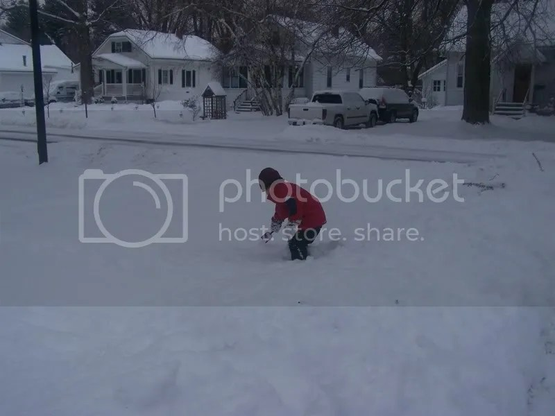 using the mini shovel to dig