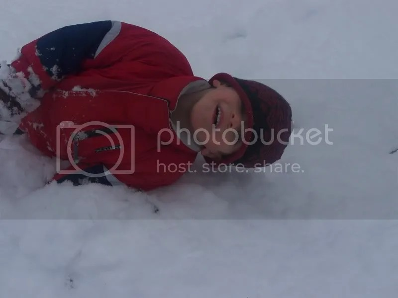 rolling down the snowbank