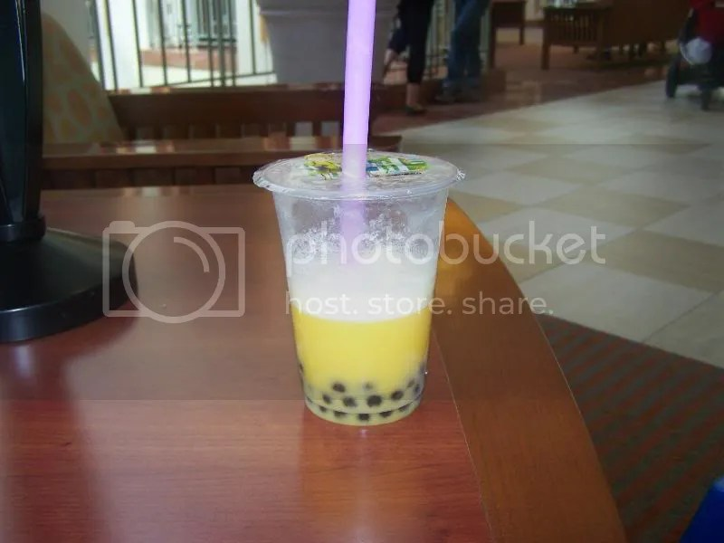 mmm..Mango Boba tea...I can't believe I found a place that makes this awesome stuff here in E. Nowhere, NY! Those black things? They're a type of tapioca pearl. MMMMM...now, if this area would only get Lychee flavor, I'd be over the moon!