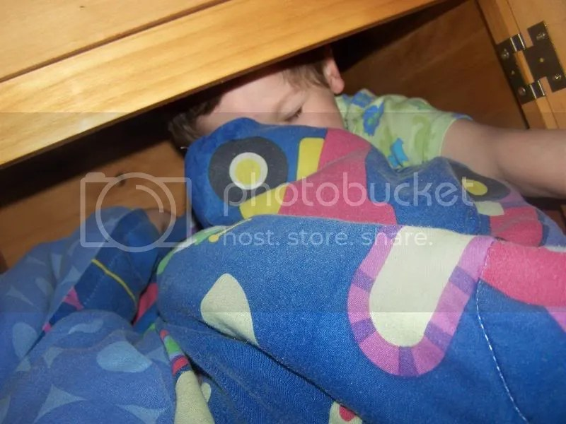 I'm going to sleep in my closet under my new bed! Bye Mommy!