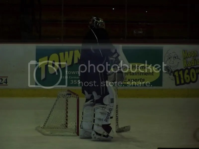 Big goalie in a little net...