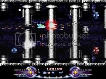 Armalyte PC: Shooting through the columns at Cybernoid-esqe enemies