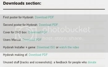 Hydorah - screenshot of the many downloadable extras