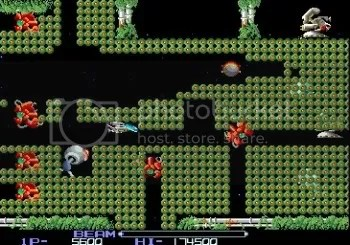 One of the later levels of R-Type (arcade)