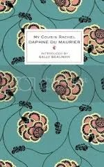 Green cover of My Cousin Rachel, with pink flowers on it