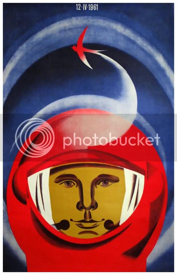 Cartel sobre el viaje espacial de Yuri Gagarin