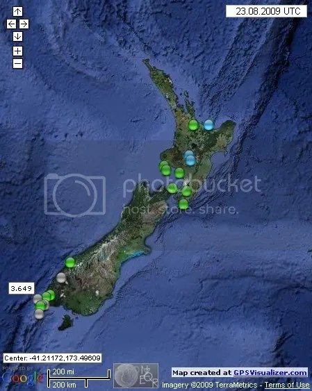 New Zealand Earthquakes August 23rd 2009 UTC