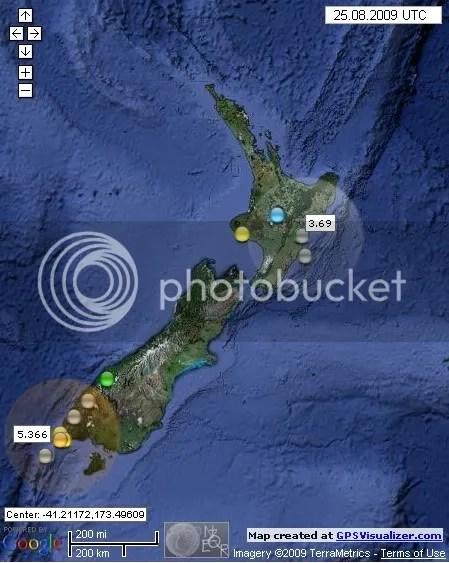 New Zealand Earthquakes August 25th 2009 UTC