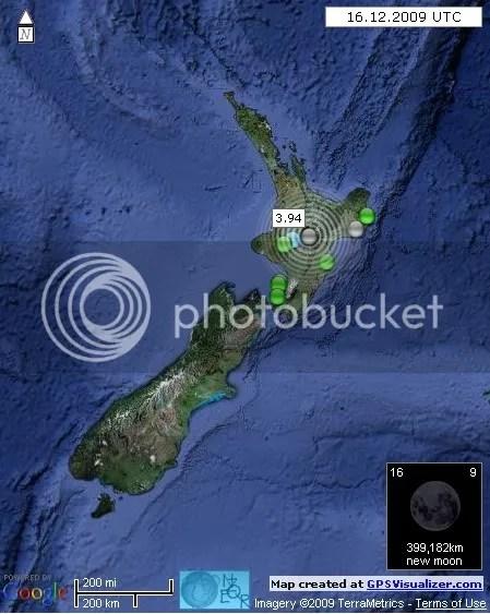 New Zealand Earthquakes 16 December 2009 UTC