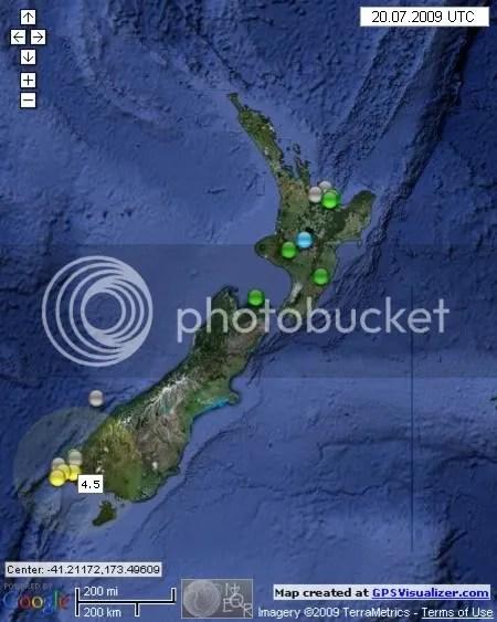 New Zealand Earthquakes July 20th 2009 UTC