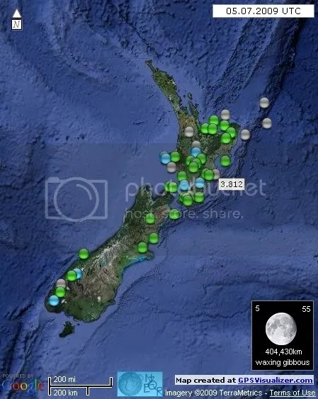 New Zealand Earthquakes July 5 2009