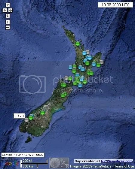 New Zealand Earthquakes June 10th 2009
