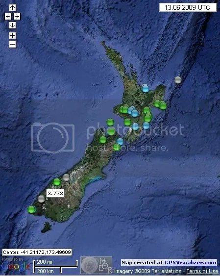 New Zealand Earthquakes June 13th 2009