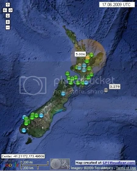 New Zealand Earthquakes June 17th 2009