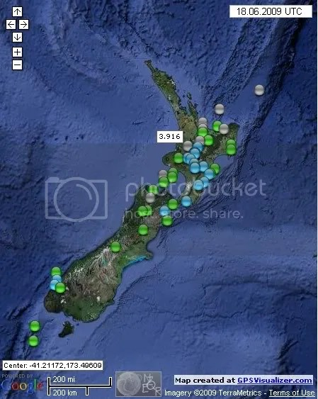 New Zealand Earthquakes June 18th 2009