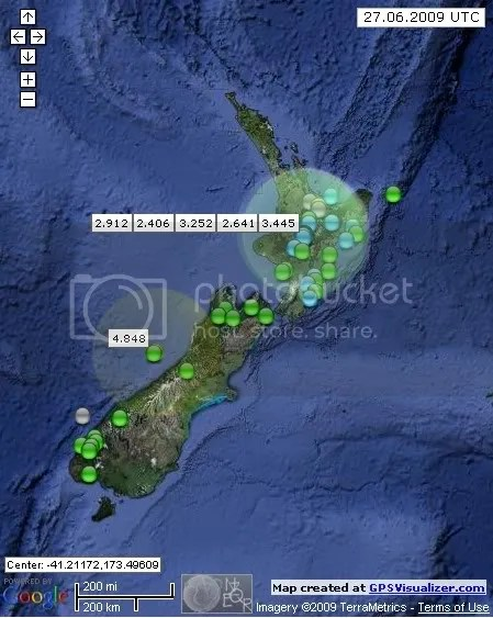 New Zealand Earthquakes June 27th 2009