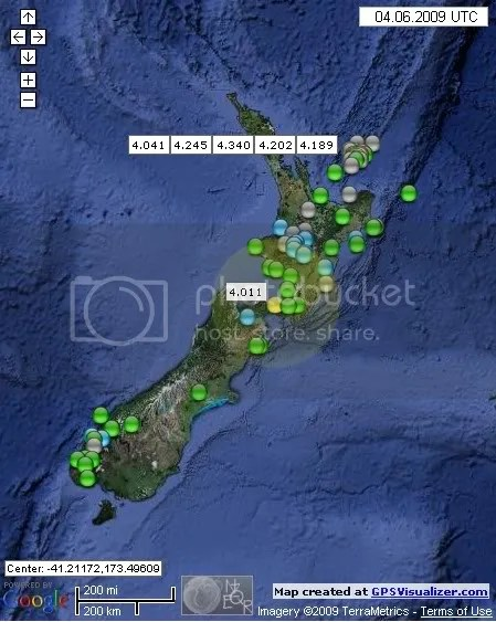 New Zealand Earthquakes June 4th 2009