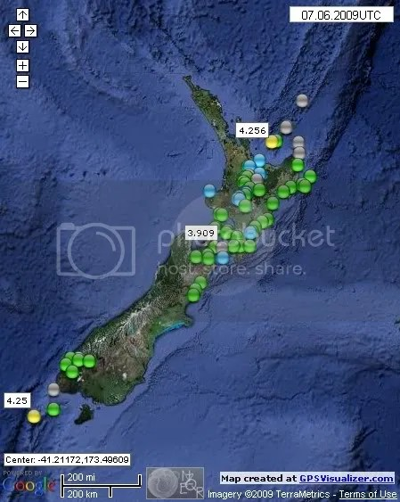 New Zealand Earthquakes June 7th 2009
