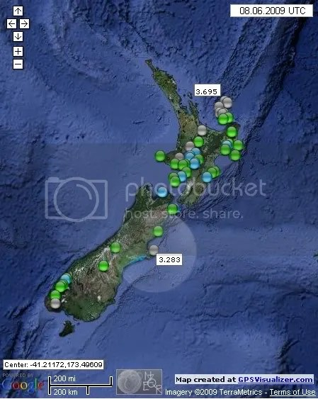 New Zealand Earthquakes June 8th 2009