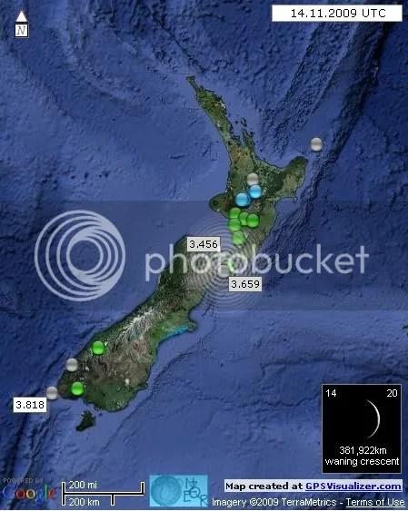 New Zealand Earthquakes 14 November 2009 UTC