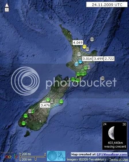 New Zealand Earthquakes 24 November 2009 UTC