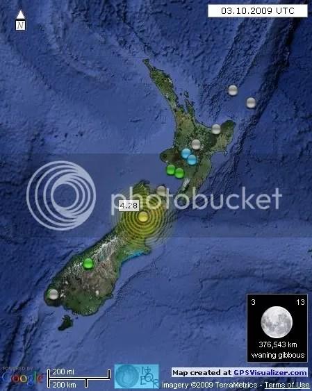 New Zealand Earthquakes 3 November 2009 UTC