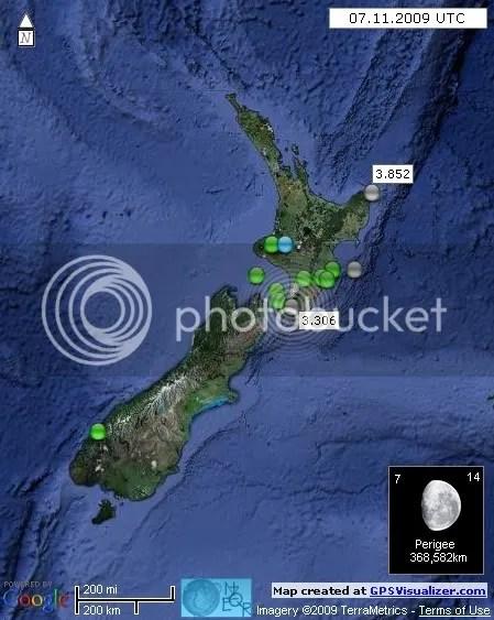 New Zealand Earthquakes 7 November 2009 UTC