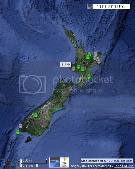 New Zealand Earthquakes 10 January 2010 UTC