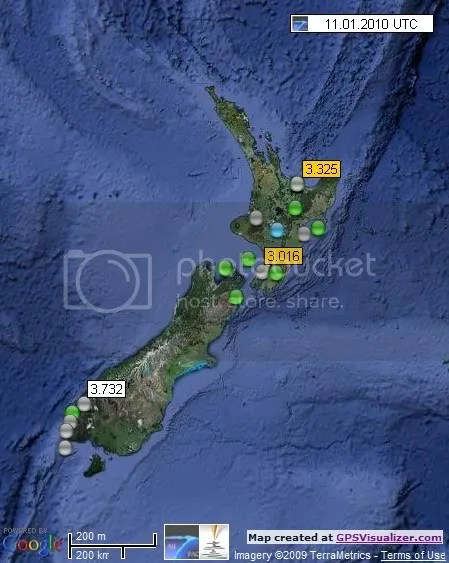 New Zealand Earthquakes 11 January 2010 UTC