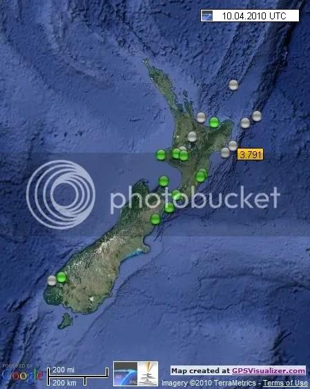 New Zealand Earthquakes 10 April 2010 UTC