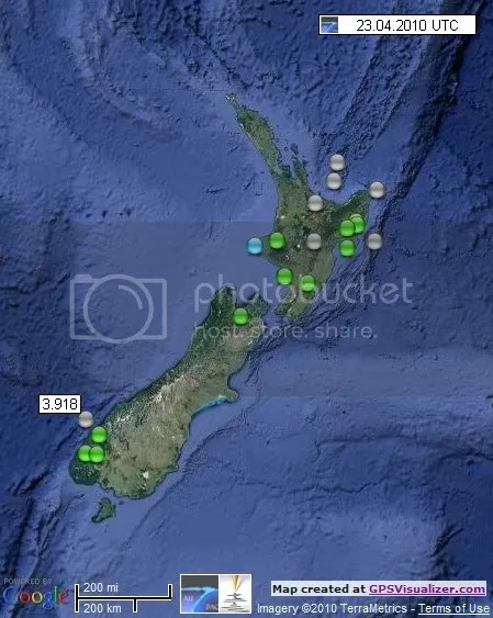 New Zealand Earthquakes 23 April 2010 UTC