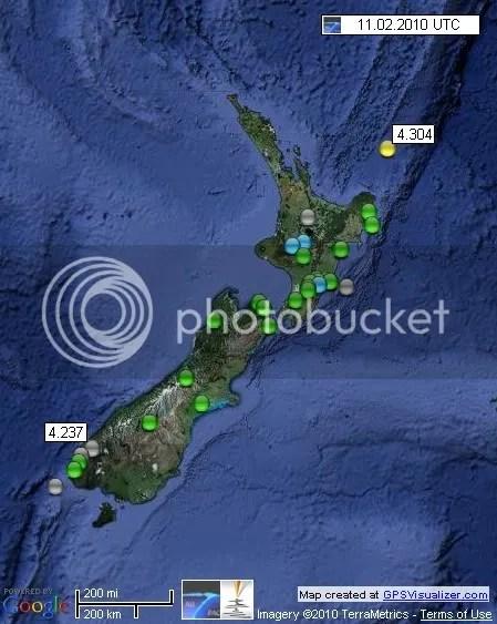 New Zealand Earthquakes 11 February 2010 UTC