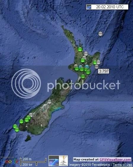 New Zealand Earthquakes 20 February 2010 UTC