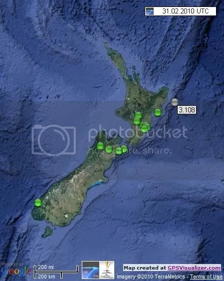 New Zealand Earthquakes 31 March 2010 UTC