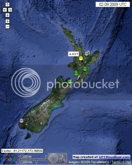 New Zealand Earthquakes September 2nd  2009 UTC