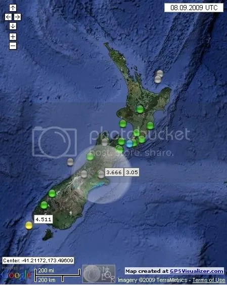 New Zealand Earthquakes September 8th  2009 UTC