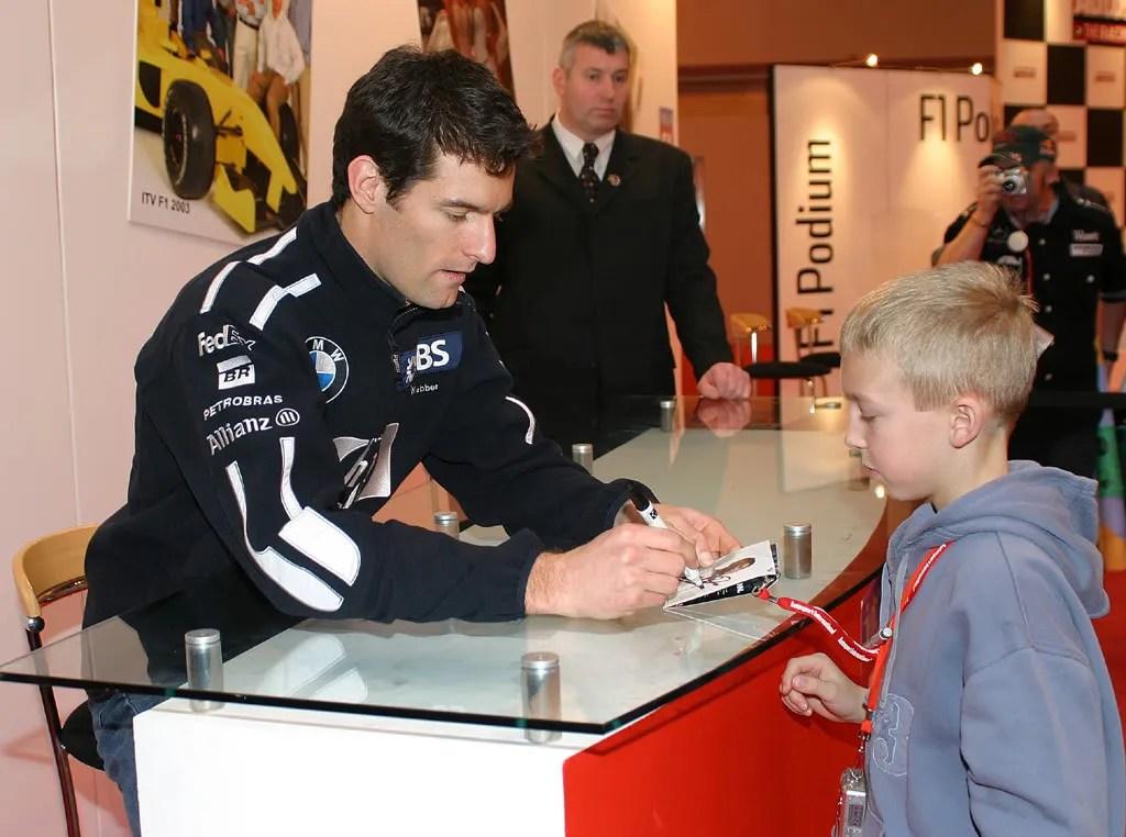 Sam age 10 meeting Mark Webber