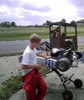 Kart stopped on track. Sam contemplates firing the mechanic!