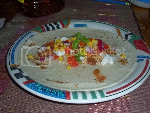 Fiery fish tacos with all the toppings