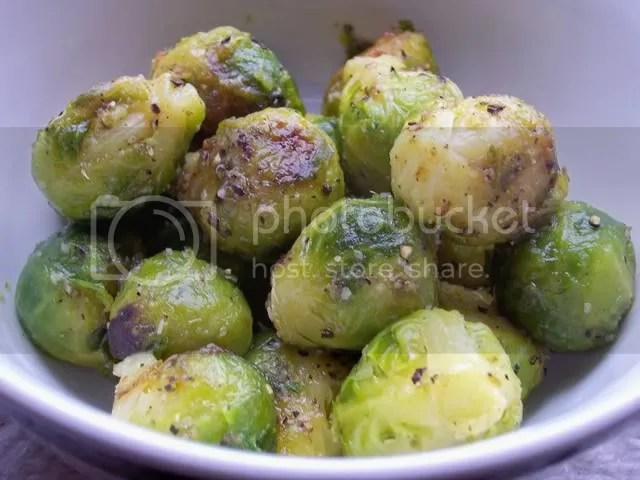Delicious, delicious roasted brussel sprouts with just the right amount of oven-caramelization