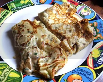 Savory crepes filled with spinach, mushrooms, and peppered turkey