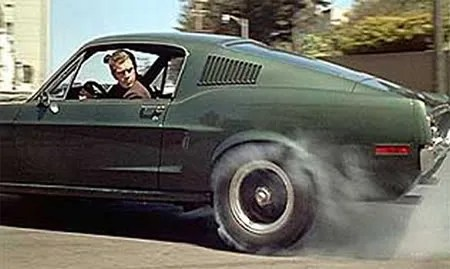 Steve McQueen in Bullit, racing through the Streets of San Francisco